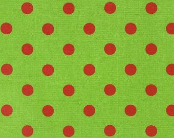 1 yard Premier Prints Polka Dots Chartreuse-Lipstick