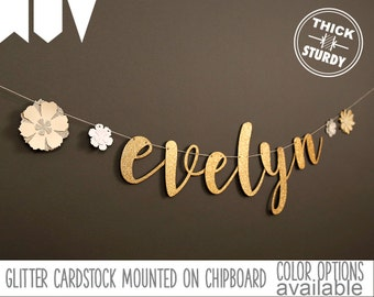 custom name banner, with flowers, floral baby shower, floral bridal shower decor, glitter banners, cursive banner, regular size