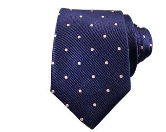 The Navy Pindot Silk Slim Modern Tie