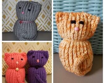 Loom Knit Kitty - Tiny Kitty - Loom Cat - Stuffed Loom Cat - Cat Lover - Cat Home Decor - Knitted Cat - Knitted Kitty - Small Decorative Cat