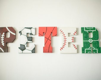 Boys Personalised Sports Football Theme Wooden Letters Room Decor Christmas Gift