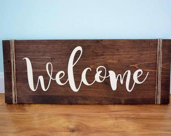 "Welcome Sign - Twine accent - 24""x9"""