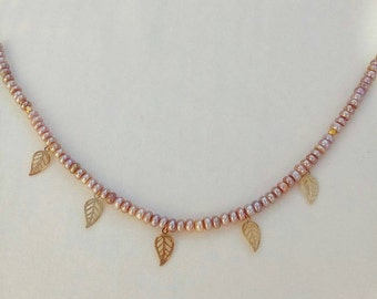 Pearl necklace, Beaded Leaf charm necklace,16k Gold Filled