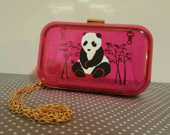 Hand Painted Clutch - panda