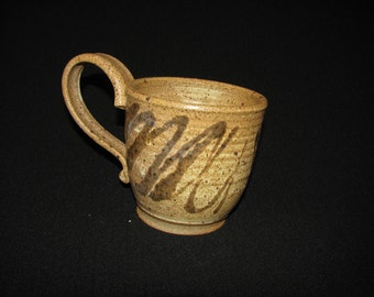 Handmade Pottery Mug, Ceramic Mug, Stoneware Coffee Cup, Brown Drizzle on White Freckle