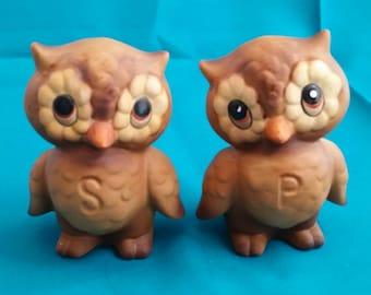 Josef Originals Brown Owl Salt & Pepper Shakers Set/Owl Salt and Pepper Shaker Set/Vintage Josef Originals/Owl Salt and Pepper Shakers Set
