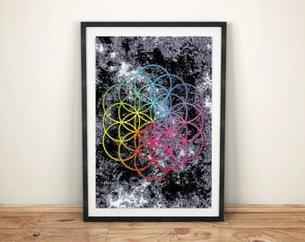 Coldplay A Head Full Of Dreams art (Flower Of Life)