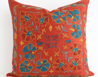 sale embroidered silk suzani pillow red coral pillows uzbek pillow uzbek embroidery turquoise pillow