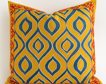 SALE Suzani Pillows - 20x20 Yellow Blue Hand Embroidery Vintage Silk Pillow - Decorative Pillows For Couch - Throw Pillow - Accent Pillow