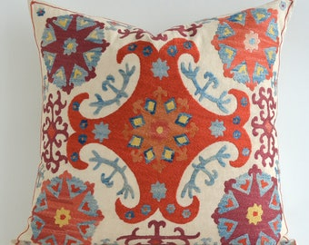 SALE - Suzani Cushion Cover Floral Hand Embroidered Vintage Suzani Pillow Cover Decorative Pillows For Couch housewarming gift for her