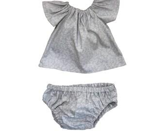Grey Printed Elasticated Top Dress & Knickers Set