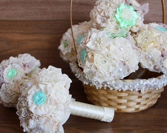 Bridesmaids bouquets, brooch bouquets mint and ivory, bridesmaids mint bouquets, brooch bouquet, wedding bouquets, wedding set