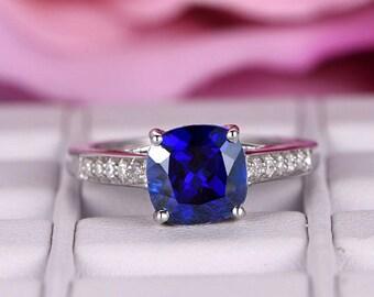 7mm Cushion Cut Treated Sapphire Engagement ring/14k white gold diamond band/Half Eternity/Bridal wedding ring/Prong/Pave set/Annivesary