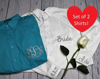 Set of 2 Bride Embroidered Monogrammed Button Down Shirt, Bridesmaids Oversized Shirt, Bridal Shirt, Getting Ready Shirt, Wedding Day Shirt