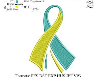 Cancer Ribbon Embroidery Design v3 - Breast Cancer Symbol Filled Stitch Embroidery - Machine embroidery no 480 3 sizes