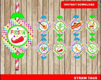 Mexican fiesta Straw Tags; printable Cinco de mayo Straw Tags, Mexican fiesta party Straw Tags instant download