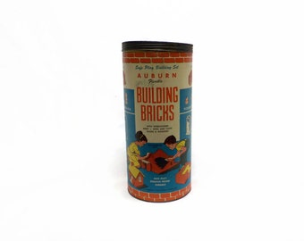 Vintage Building Bricks - 1950's Auburn Building Bricks - Vintage Pre-Lego Building Brick Toy - Auburn Flexible Building Bricks - Midcentury