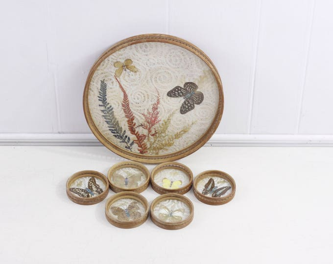 Butterfly serving tray and 6 coaster set, vintage bamboo / glass pressed butterfly hostess tray, bohemian drinks serving, butterfly coasters