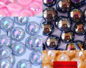 50-1000pcs AB Colors Flatback Pearl Beads Multicolors ABS Resin Half Round Pearls
