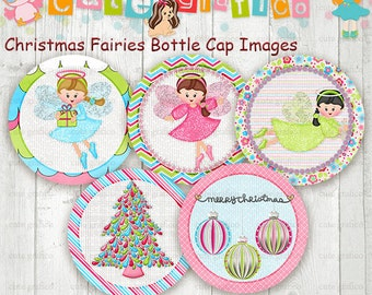 Christmas Fairies Bottle Cap Images, 1 INCH Round Images - PRINTABLE Instant Download- Inch Bottle Cap Image/Digital Collage sheet