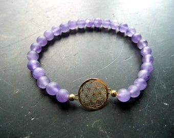 Amethyst, Bracelet, Mandala, Flower of Life, matte