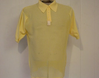 Vintage shirt, 1960s shirt, Ban Lon shirt, vintage clothing, mesh clothing, L, NOS