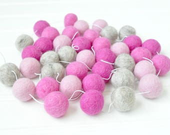 Pink and Gray Pom Pom Garland, Pink Felt Ball Garland, Baby Girl Baby Shower Decorations, Pink Felt Bunting, Pink and Gray Nursery Decor