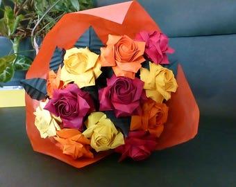 Origami roses bouquet