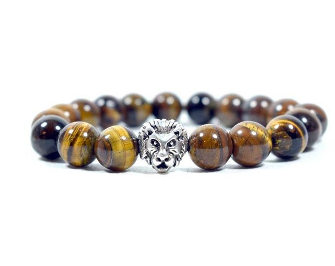 Men's Lion Head Bracelet with Tiger Eye Beads.