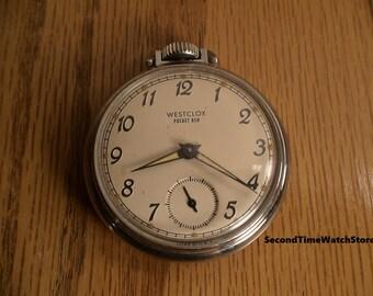 Serviced, 1968 WESTCLOX Pocket Ben Luminous  Mechanical Winding Dollar Pocket Watch, made in USA
