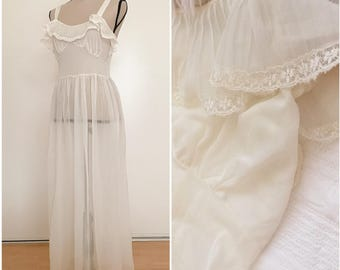 Vintage 1950's sheer off white creamy pleated long nightgown