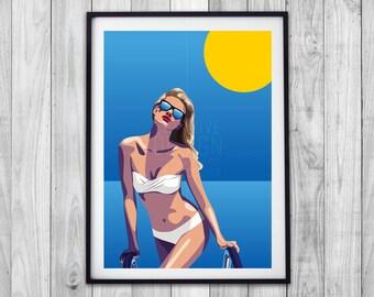 Soak Up Summer Pool print, water print, vector illustration, giclee artwork print, digital art, wall art, décor, sun, blue, yellow