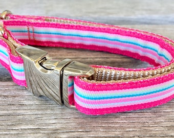 "Modern Striped 5/8"" Dog Collar, Pink or Blue Striped Dog Collar, Small to Medium Breed Dog Collar"