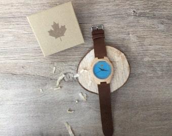 SKYE - gravé bois montre, montre bleu ciel Messieurs en bois, bois montre, montre pour homme personnalisé, cadeau personnalisé, montres en bois...