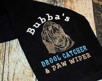 Personalized Dog Towel with Hook - Drool Catcher and Paw Wiper Towel - Choose your Dog Breed and Towel Color