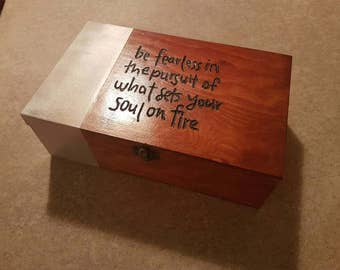 Handmade wooden box with white liner