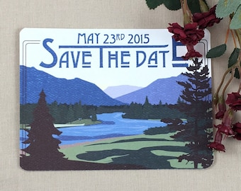 Montana River and Mountains Save the Date postcards