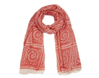 Red Batik Print Long Scarf SC2016j