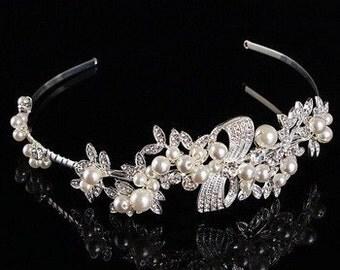 Luxury Handmade Silver & Pearl Tiara BH1011i