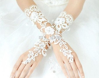Ornate Bridal White Lace Fingerless Mid Length Bridal Wedding Gloves With Crystals (One Size)