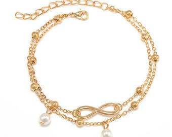 1 x Dual Chain Golden Pearl Charm Anklet