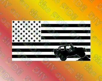 SVG Cut File JEEP Silhouette Flag Stars and Stripes Grille Instant Download