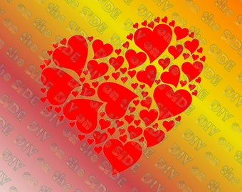 SVG Cut File Valentines Heart of Hearts Instant Download