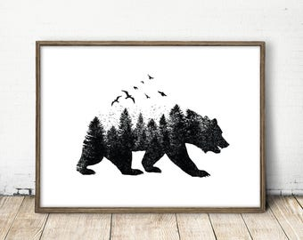 Bear Wall Art polar bear wall art bear illustration mother and child art