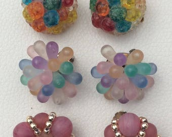 A Delightful Trio of Vintage French Clip On Earrings.