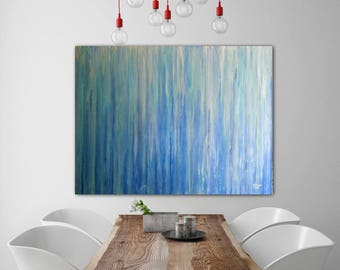 ABSTRACT PAINTING Custom Un-stretched Original Painting Large Canvas Art  Blue Abstarct Original Art Wall Art Oil Painting Blue Painting