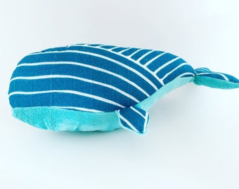 Friendly Whale Plush Animal made from Tula Blanket and Minky