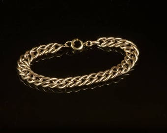 "Vintage sports bracelet GF curb chain 8"" Handsome! 10 mm links"