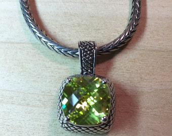 """16"""" Fashion Necklace with Large Green Cut Crystal Pendant"""