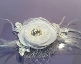 FLEUR - Fabric Flower & Feather Hair Piece
